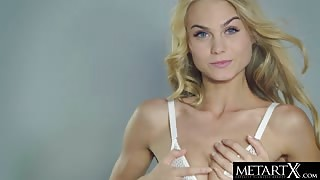 Hot Blonde In White Panties Strips Naked