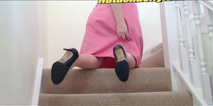 Bbw Chubby Blonde Housewife In Fully Fashioned Stocking