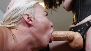 Brunette Gives Submissive Lesbian Friend A Nice Anal Fuck