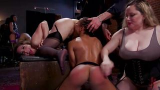 Debauched Party Watches Girls Get Spanked And Fucked