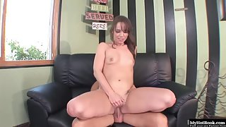 Teen Hannah West Got Fucked On Leather Couch