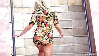 Hot Blonde Girl Rides A Dildo