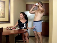 Brunette Chick Gets Instantly Turned On By Morning Wood