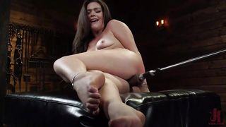 Busty Brunette Fell In Love With Fucking Machines!!!