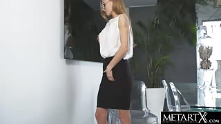 Pencil Skirt Beauty Rubs Her Tight Pussy