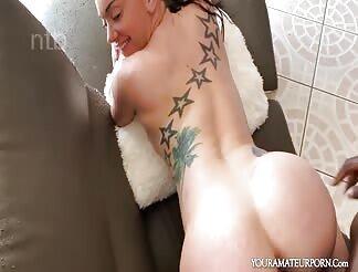 Slutty Tattooed Naughty Pleases Her Black Daddy