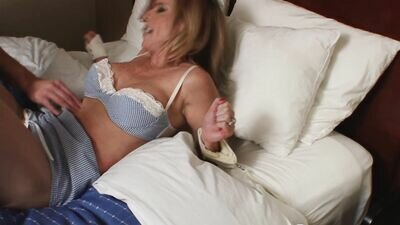 Blonde MILF Tied Up In Her Sexy Lingerie For Erotic Tickling