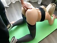 Sexy Fitness Model Stands In Different Poses During Good Banging