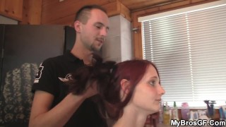 Redhead Cheating Gf Taking His Dick From Behind