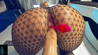 Girl With Amazing Ass Rides Dildo