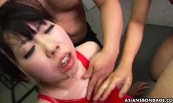 Asians Bondage Slut An Orie Sucks Two Loaded Cocks